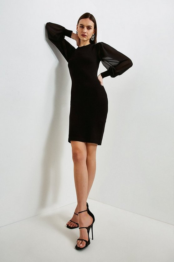 Black Georgette Sleeve Dress