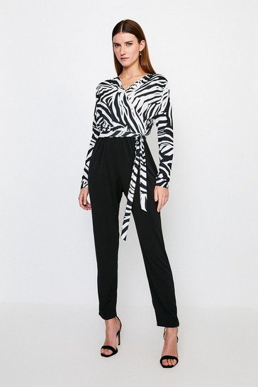 Black Zebra Wrap Jersey Jumpsuit