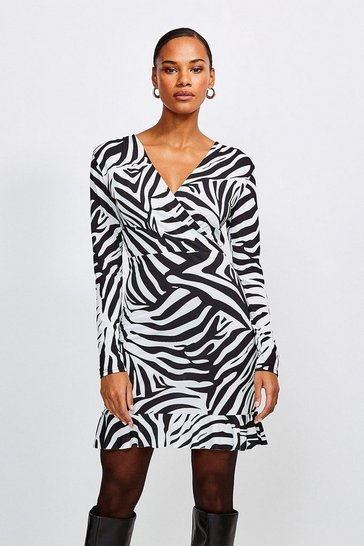 Black Zebra Wrap Long Sleeve Jersey Dress