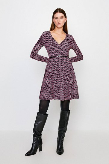 Geo Print Wrap Belted Jersey Dress