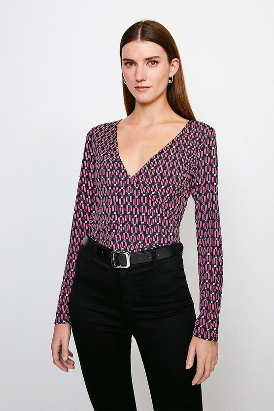 Red Geo Print Wrap Jersey Top