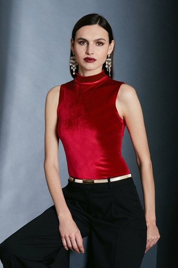 Red Velvet Funnel Neck Jersey Top