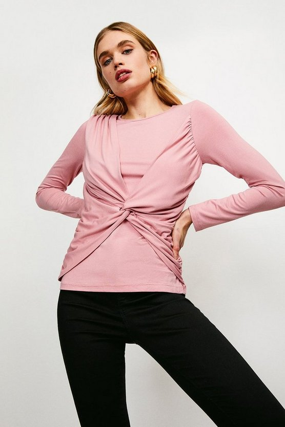 Blush Slinky Long Sleeve Knot Jersey Top