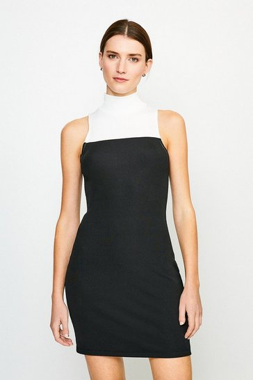 Black Lounge Rib Funnel Colour Block Jersey Dress