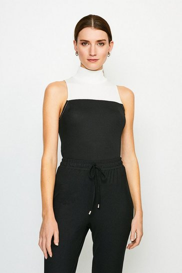 Black Lounge Rib Funnel Colour Block Jersey Top