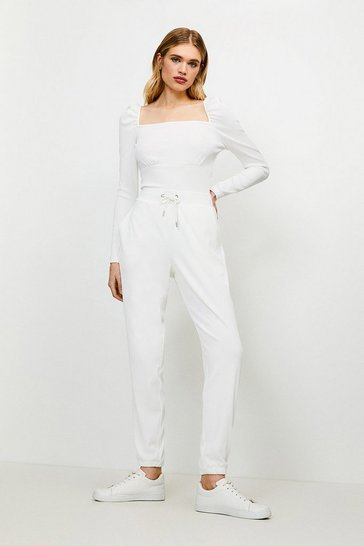 Cream Lounge Rib Square Neck Jersey Top