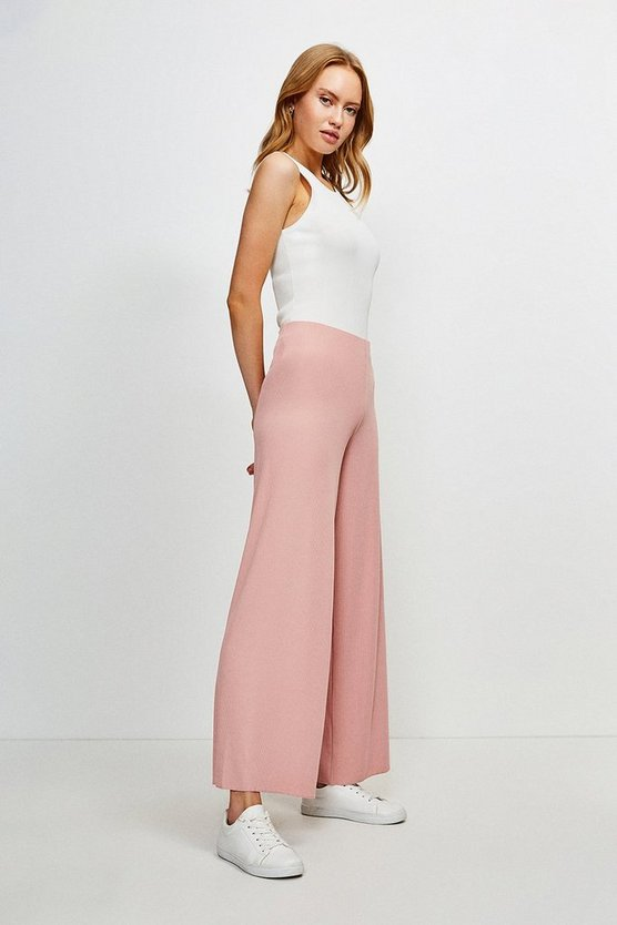 Blush Lounge Rib Wide Leg Jersey Trousers
