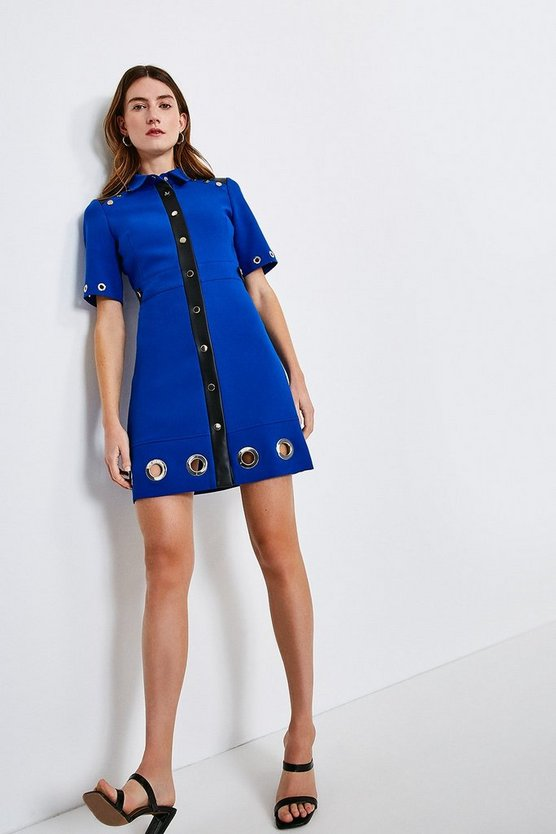Blue Compact Stretch Eyelet Detail Collared Dress