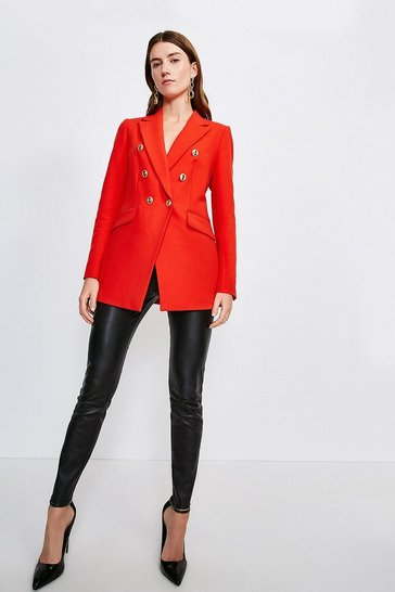 Red Longline Tailored Military Button Blazer