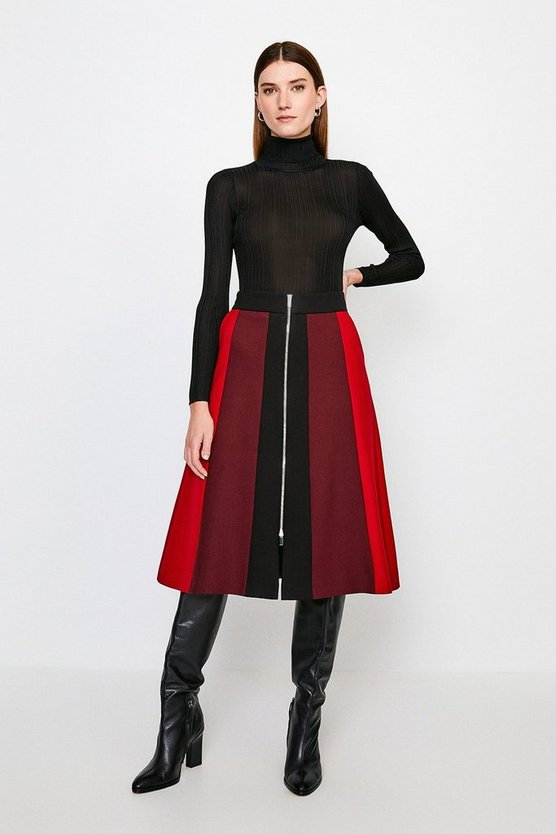Multi Colour Blocked Zip Front Midi Skirt