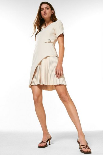 Cream Tailored Military Pleat Short Sleeve Dress