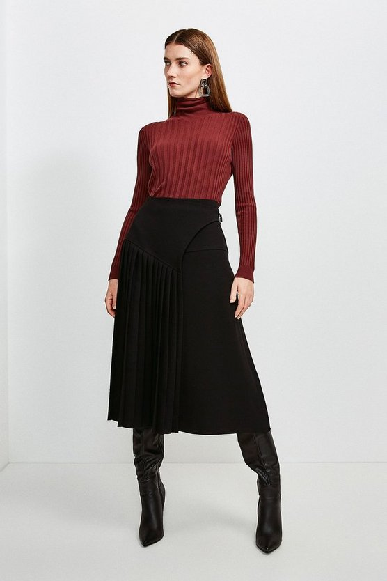 Black Military Pleated Wrap Midi Skirt