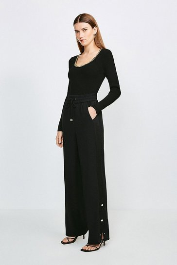 Black Soft Fluid Crepe Luxe Utility Wide Leg Trouser