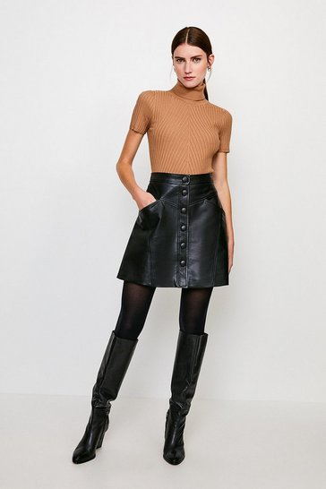 Black Faux Leather Button Through A Line Skirt