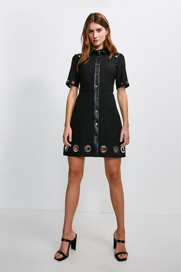 Black Compact Stretch Eyelet Detail Collared Dress