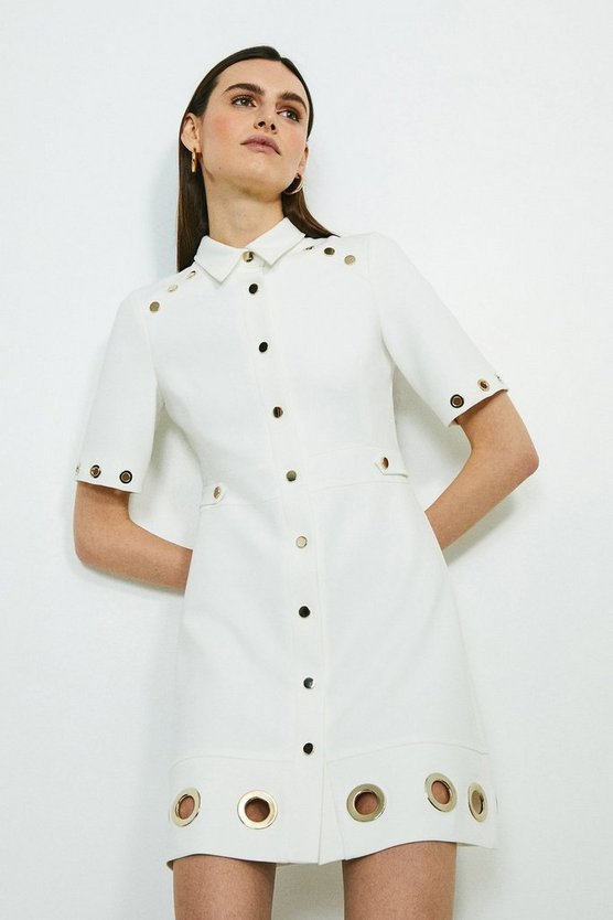 Ivory Compact Stretch Eyelet Detail Collared Dress