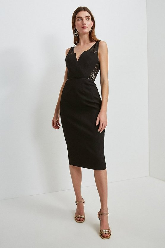 Black Italian Lace Panelled Shift Dress