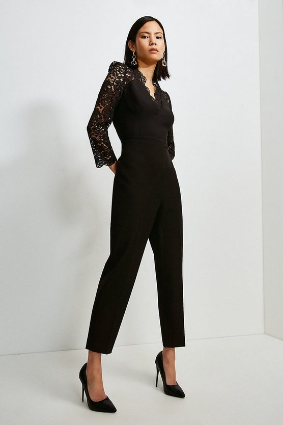Black Italian Lace Long Sleeve Forever Jumpsuit