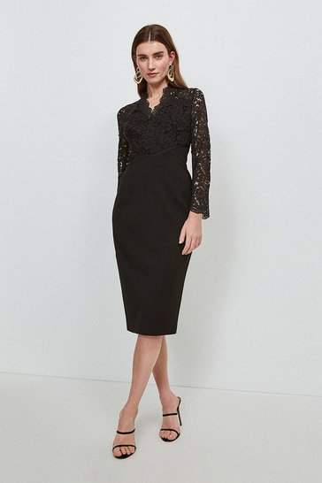 Black Italian Lace Long Sleeve Forever Dress