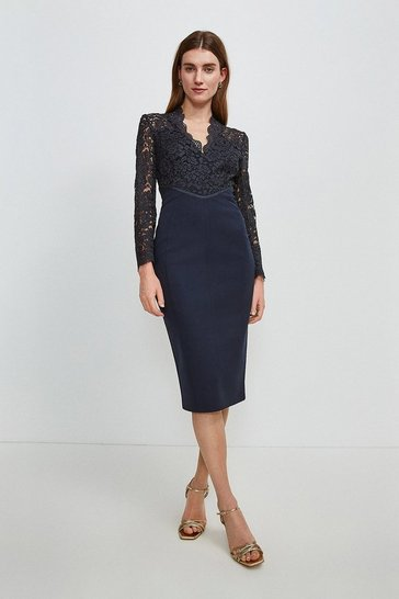 Navy Italian Lace Long Sleeve Forever Dress