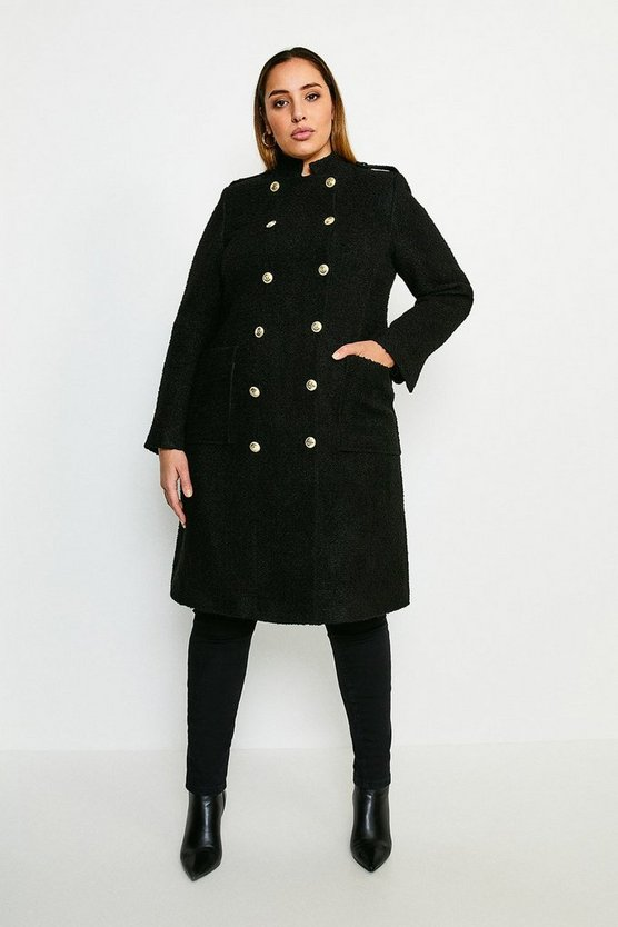 Black Curve Boucle Double Breasted Coat