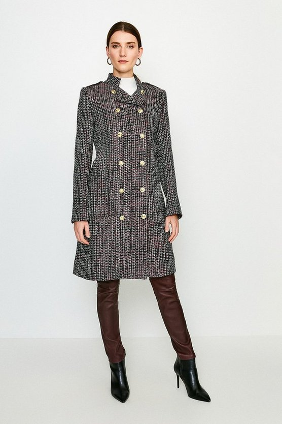 Pink Tweed Military Double Breasted Coat