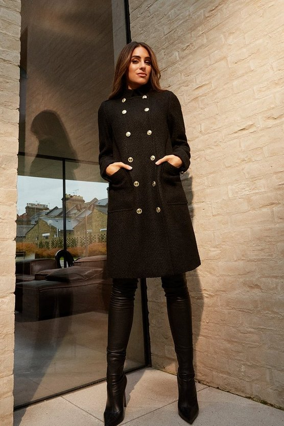 Black Boucle Military Double Breasted Coat