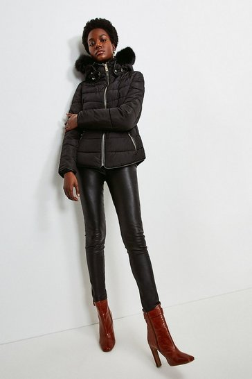 Black Faux Fur Collar Padded Short Jacket