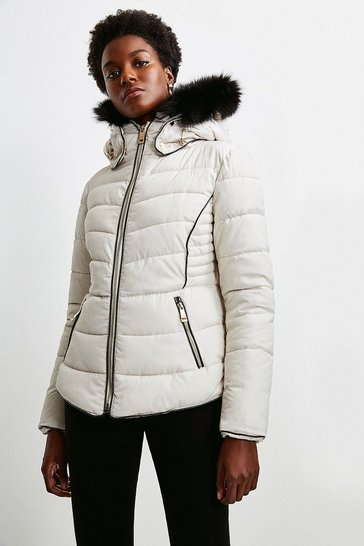 Ivory Faux Fur Collar Padded Short Jacket