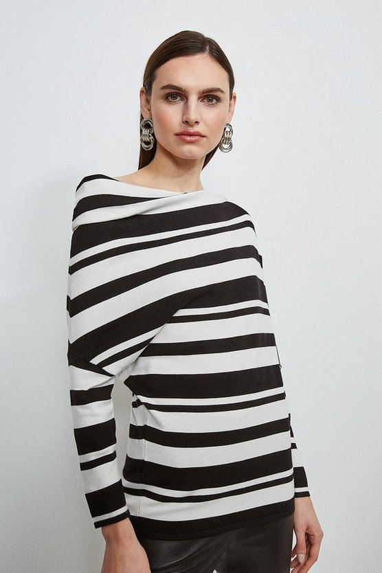 Mono Stripe Slouchy Knit Jumper