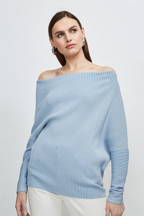 Blue Plated Slouchy Knit Jumper