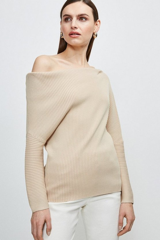 Oatmeal Plated Slouchy Knit Jumper