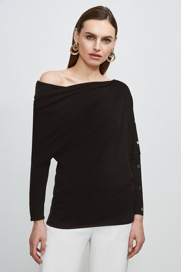 Black Rivet Sleeve Slouchy Knit Jumper