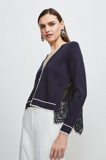 Navy Lace Back Knit Cardigan