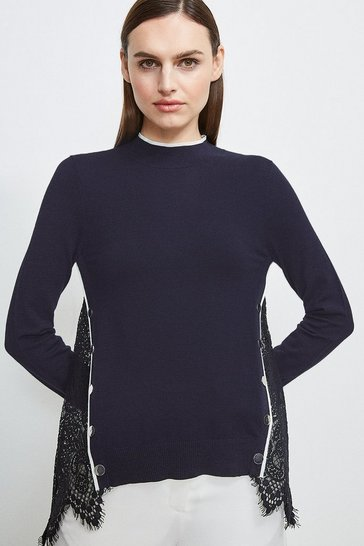 Navy Lace Back Knit Jumper