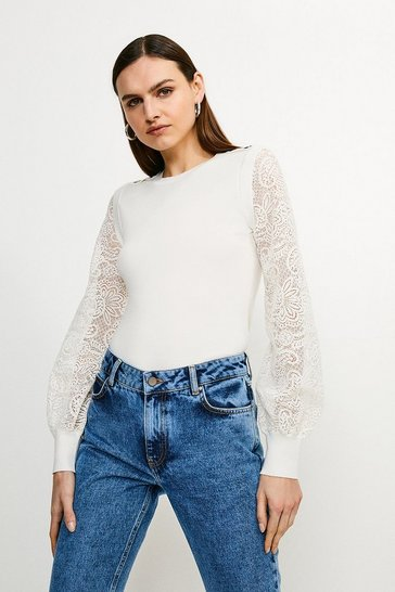 Ivory Lace Sleeve Knit Jumper