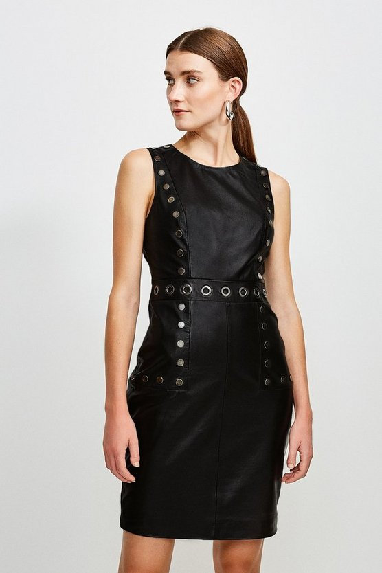 Black Eyelet Trim Leather Shift Dress