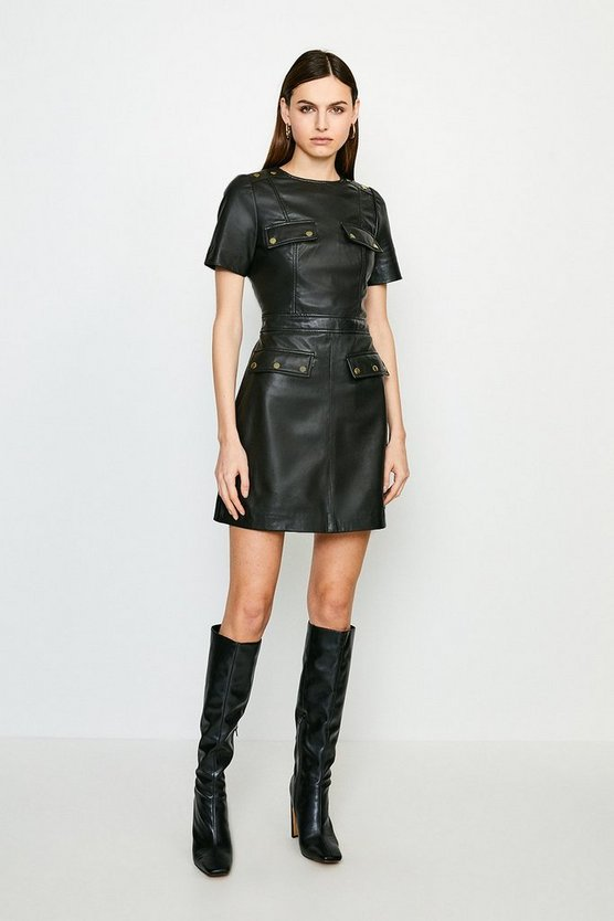 Black Popper Trim Pocket Leather Dress