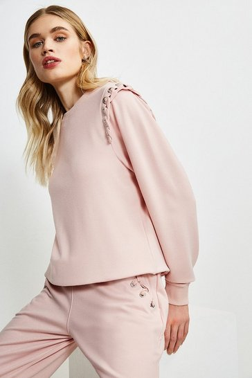 Dusty pink Lounge Eyelet Shoulder Jersey Sweatshirt