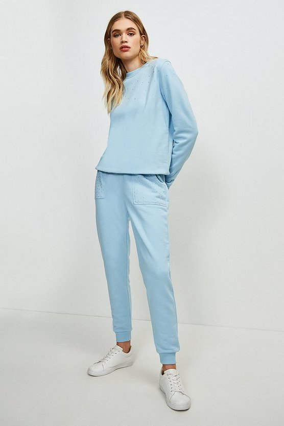 Dusty blue Lounge Diamante Jersey Jogger