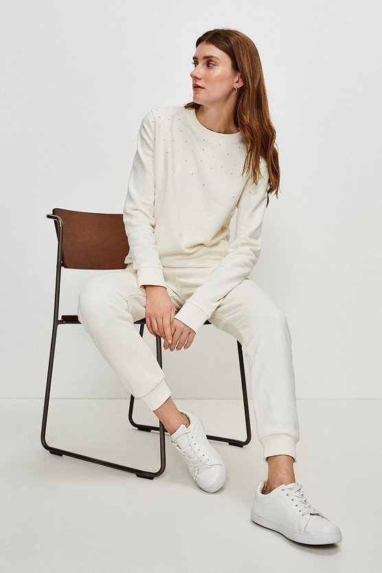 Cream Lounge Scattered Diamante Jersey Sweatshirt