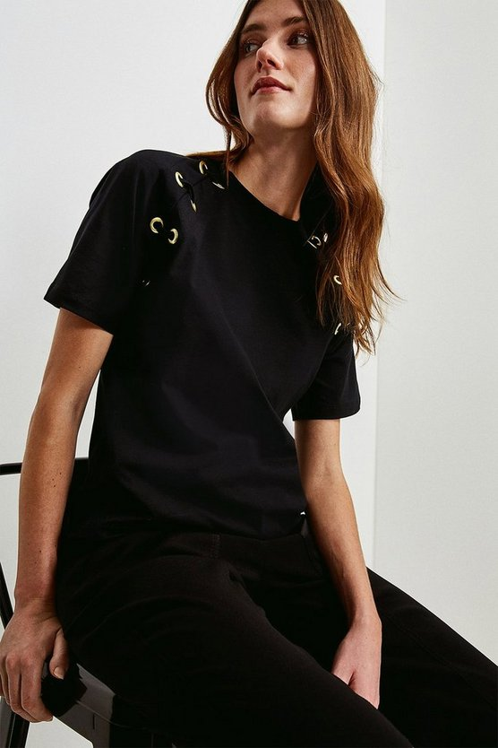 Black Lounge Eyelet Sleeve Jersey T-Shirt