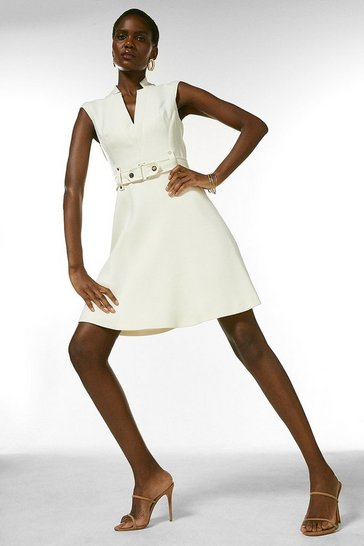 Ivory Forever Cinch Waist Cap Sleeve A-Line Dress