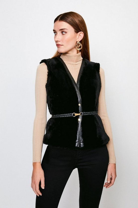 Black Reversible Popper Trim Belted Sheepskin Gilet