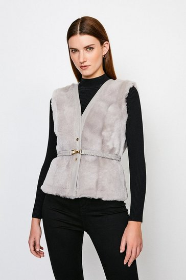 Grey Reversible Popper Trim Belted Sheepskin Gilet