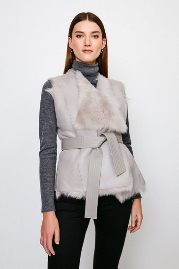 Grey Reversible Quilted Panel Sheepskin Gilet
