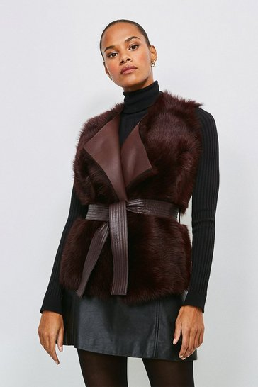 Wine Reversible Quilted Panel Sheepskin Gilet