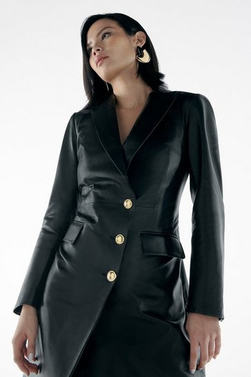 Black Label Leather Gold Button Tux Dress