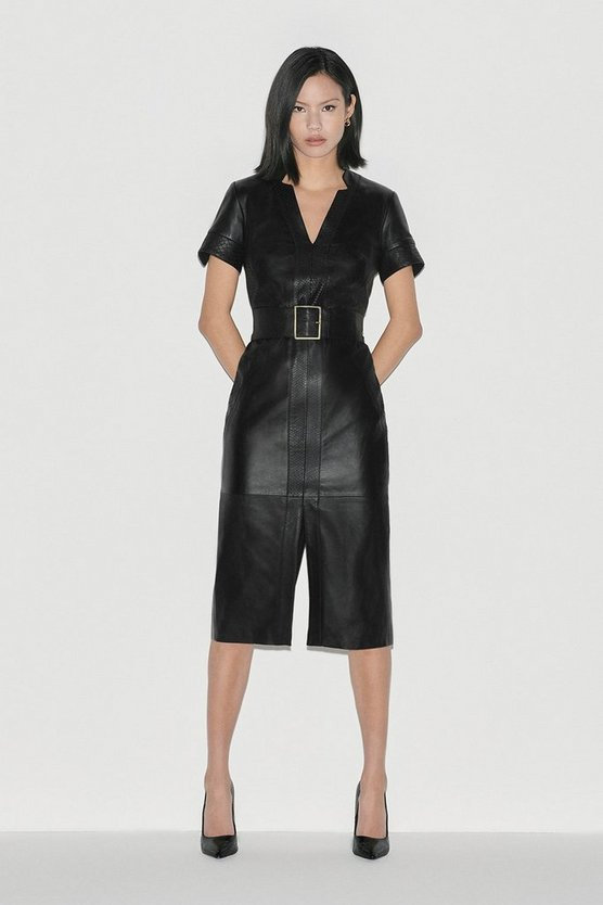 Black Leather Panelled Pencil Dress