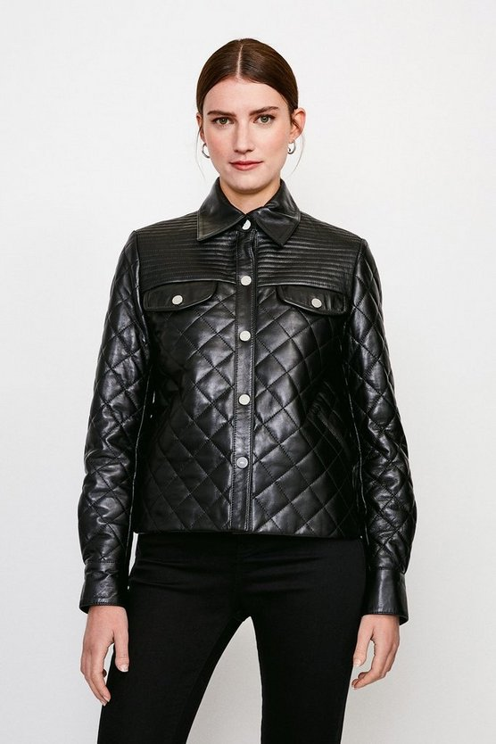 Black Leather Quilted Multi Stitch Pocket Jacket